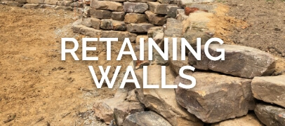 retaining wall picture with words and link to portfolio